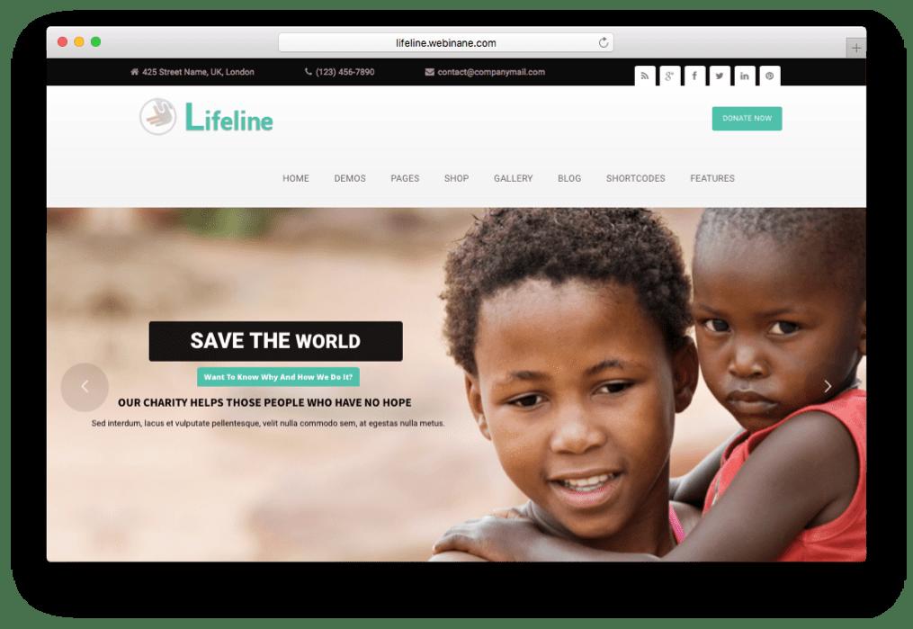 Lifeline NGO Charity Fund Raising WordPress Theme | WordPress Themes ...