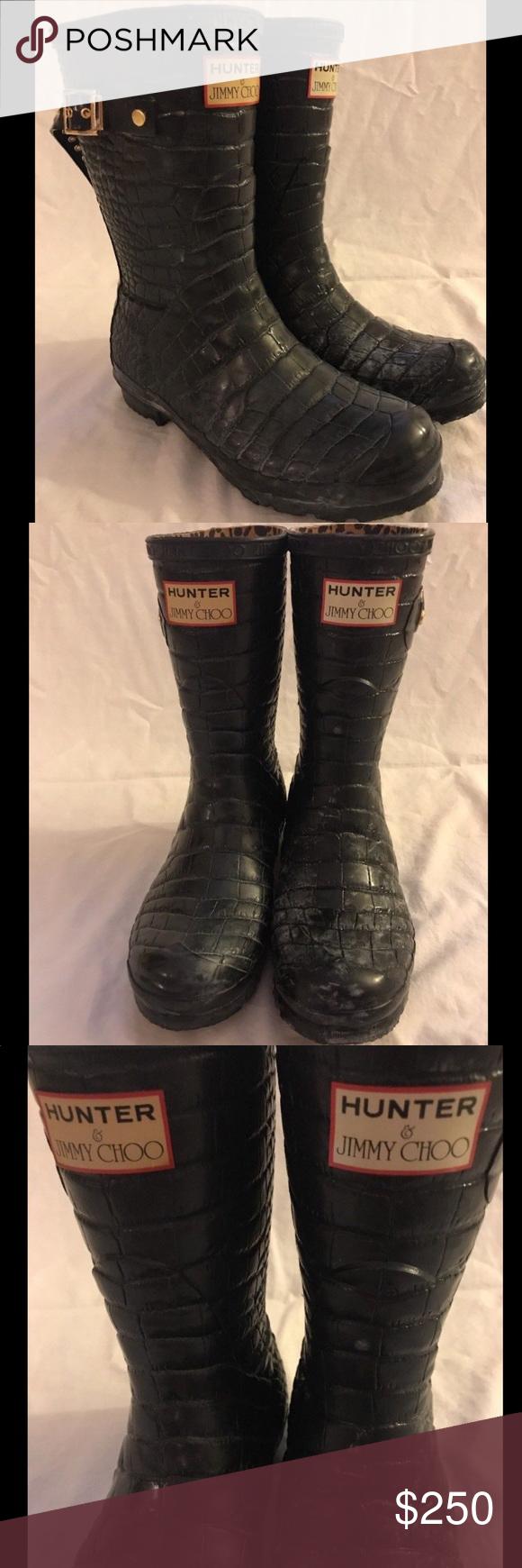d20317959a9 Hunter x Jimmy choo embossed croc boots wellies Hunter x Jimmy Choo  collaboration boots — Wellington boots