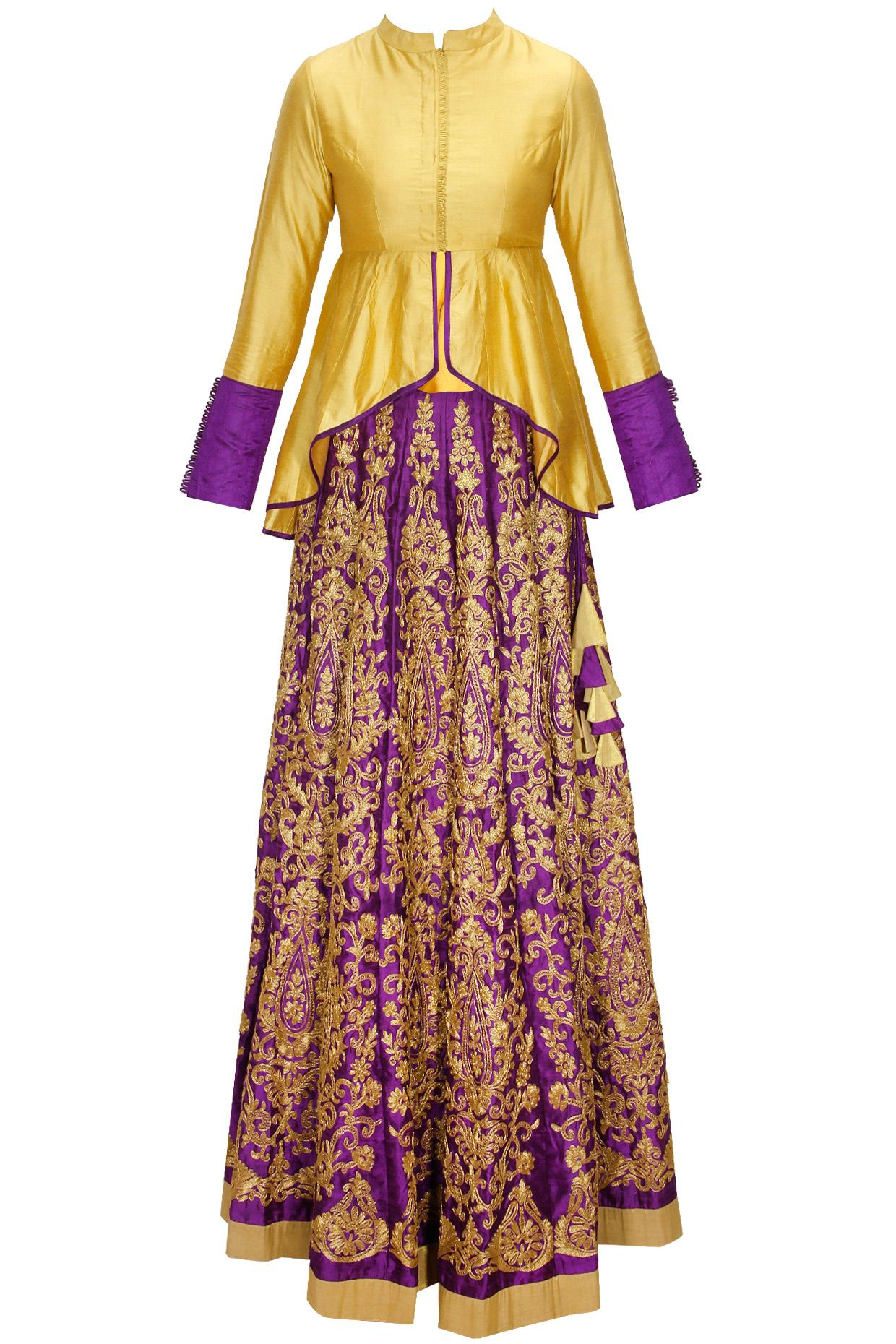 571c37f81c VASAVI SHAH Purple embroidered lehenga with gold short jacket available  only at Pernia's Pop-Up Shop.