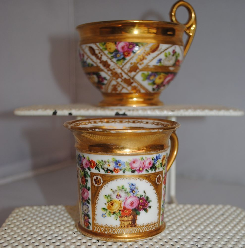 EARLY 19TH CENTURY SCHOELCHER PARIS PORCELAIN CABINET CUP AND COFFEE CAN