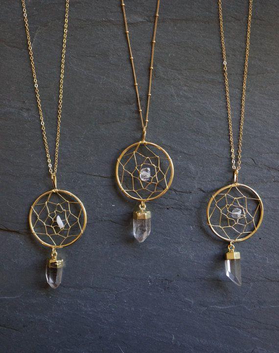 SALE / Dreamcatcher Necklace / Gold Quartz Necklace / Quartz Pendant