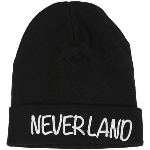 Disney Peter Pan Neverland Beanie | Hot Topic ($12) ❤ liked on Polyvore featuring accessories, hats, beanies, disney, black beanie, disney hats, beanie hats i black beanie hat