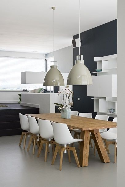 Mooie eettafel hout eetkamerstoel gietvloer lamp new house pinterest modern interior - Moderne eettafels ...