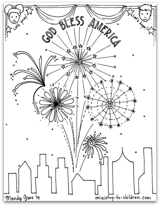 Free Pdf July 4th Coloring Page God Bless America Free