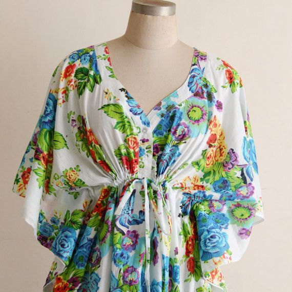 Hospital Nursing gown, Caftan, Maternity dress in Blue rose. Summer ...