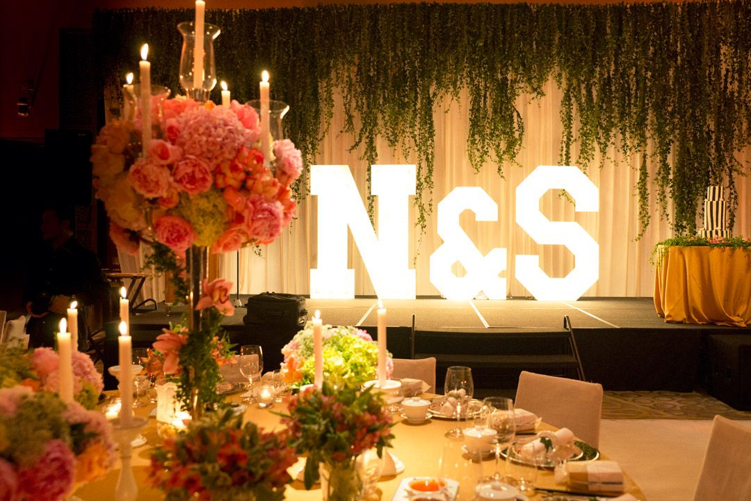 Nisha & Sanjeevan wedding reception main stage Vintage
