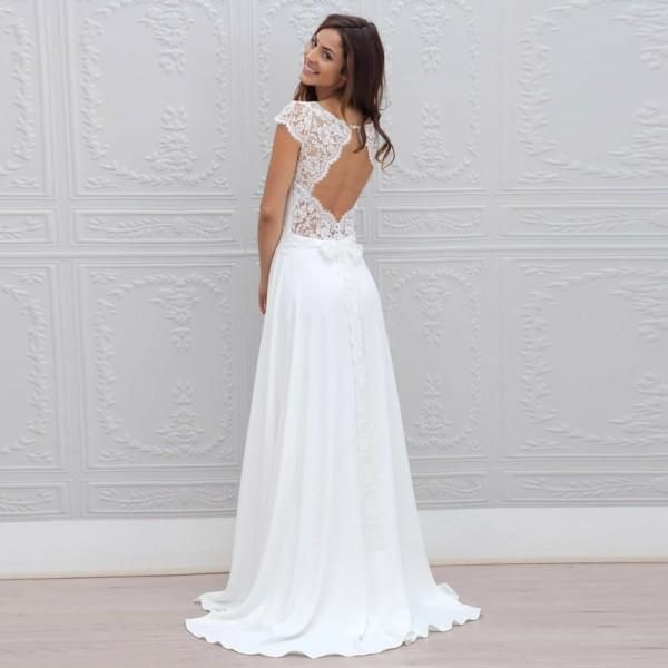Long Wedding Dress Lace Wedding Dress Chiffon Bridal Dress Cap Sleeve Wedding Dress Open Back Wedding Dress Floor Length Wedding Dress A Line Wedding Dres Cheap Wedding Dress Wedding Dresses Wedding Dresses Lace