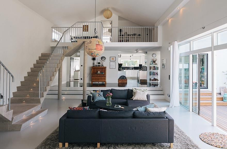 Relaxing Modern House With Rich Of Natural Light Double Height Living Room Completed With Large