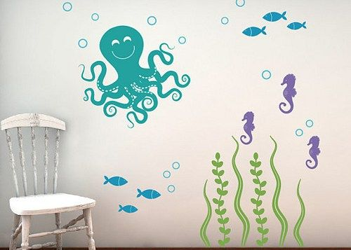 Merveilleux Amazing Easy Removable Vinyl Sea Ocean Wall Decal On The White Wall Paint  Themes Nursery Design