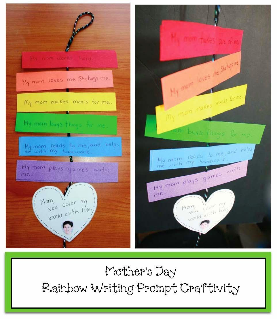 Classroom Craft Ideas ~ Rainbow mother s day writing prompt craft mothers