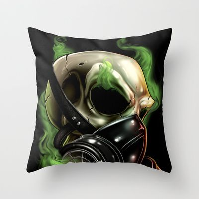 SkullGas mask 12 Throw Pillow by