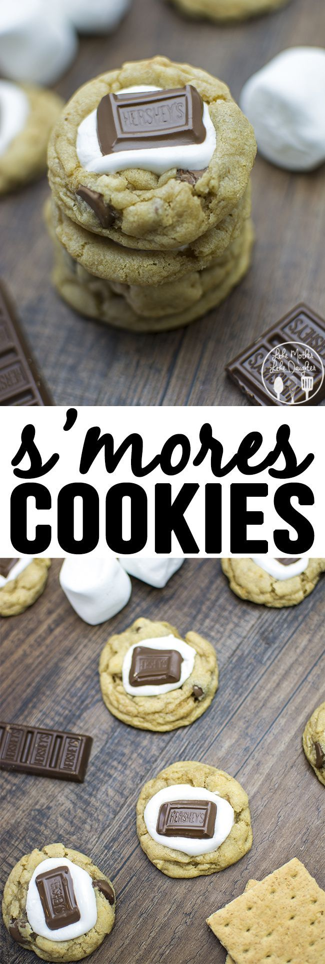 Cookies - These delicious s'mores cookies have a simple chocolate chip cookie base mixed with a graham cracker crumble and are topped with a gooey marshmallow and hershey's chocolate for the great taste of s'mores in a delicious cookie!
