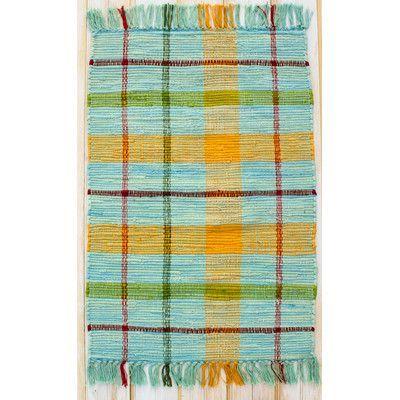 "CLM Calypso Turquoise Plaid Area Rug Rug Size: 2'6"" x 4'2"""
