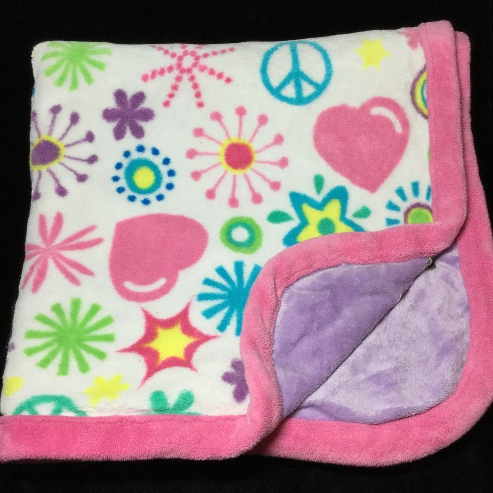 Silver One Baby Peace Sign Flowers Baby Blanket Pink Purple Velour  #SilverOnebaby
