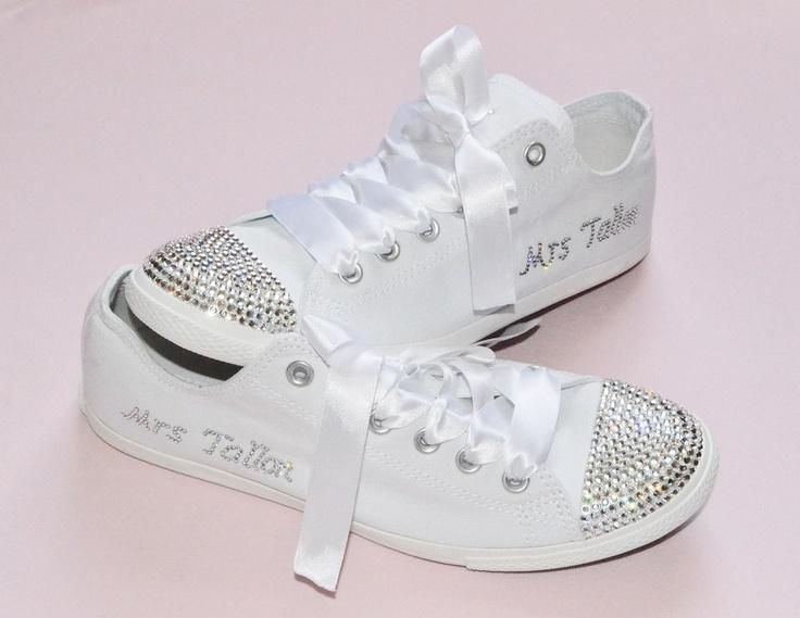 Custom Crystal Wedding Converse White Slim Sole Pumps Flats All Star Bling Sparkly Rhinestone Bride Bridesmaid Reception Shoes