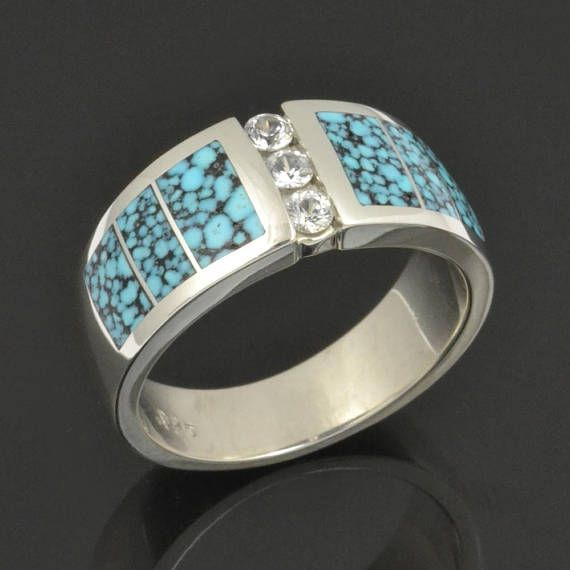 Mans Spiderweb Turquoise Wedding Ring Accented By 3 White Sapphires Set In Sterling Silver Hileman Jewelry This Band Is Inlaid With
