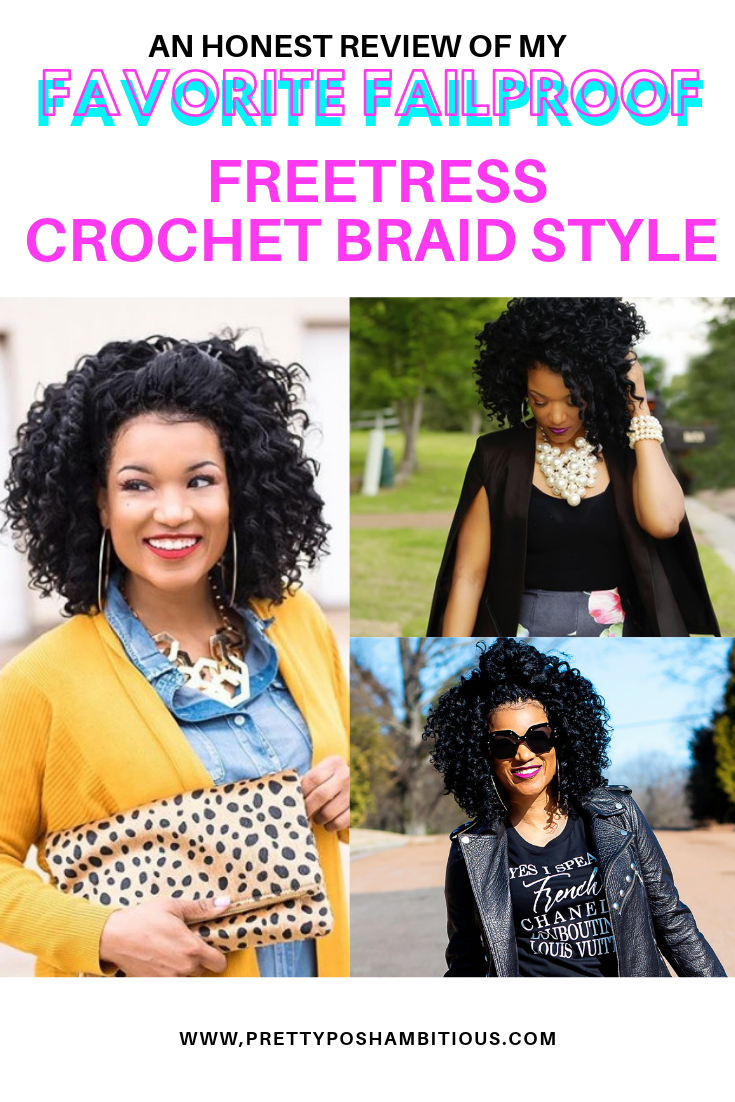 This is my go to crochet braid hairstyle.  This hair is super light and super easy to style. #crochetbraids #fresstress #crochetbraidshairstyle #crochetbraids