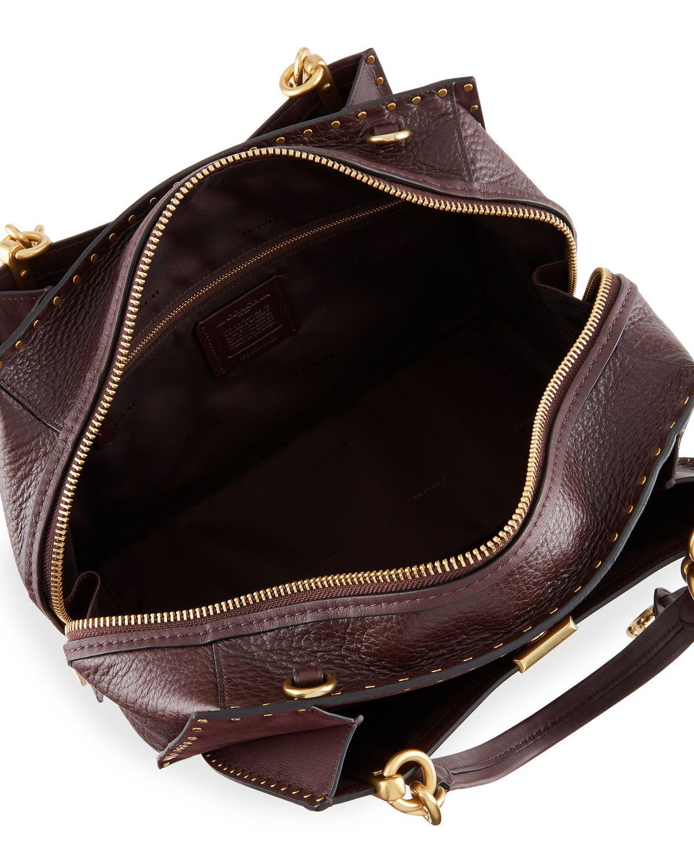 f434b543c4 Coach Dreamer 36 Rivets Mixed Leather Satchel Bag