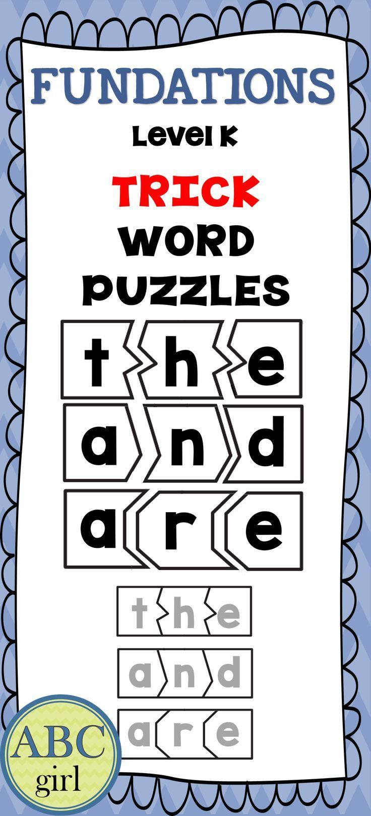 Kindergarten Fundationally FUN PHONICS Level K Trick Word