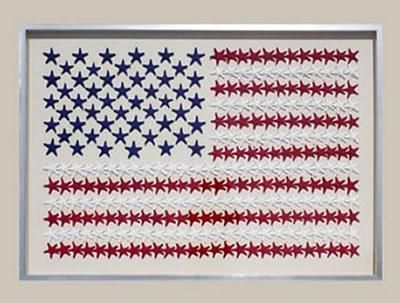 Love this. A must have if I trip over a money tree. ;)  Karen's marine-life adaptation of the American Flag in red, white and blue starfish is an instant American Classic for the upscale coastal Patriotic dwelling.  Comes in our silver front and white edged wood frame, hand-finished in the tradition of fine water-gilding.  Starfish mounted on cream muslin fabric.  Proudly handcrafted in the United States of America.