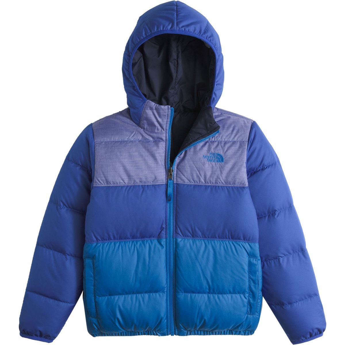 573a8ece1aa7 The North Face Moondoggy Reversible Down Jacket Boys  Honor Blue L ...