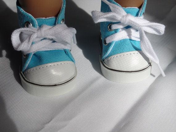 Turquoise and Black High Tops Tennis Sneakers Shoes for 18