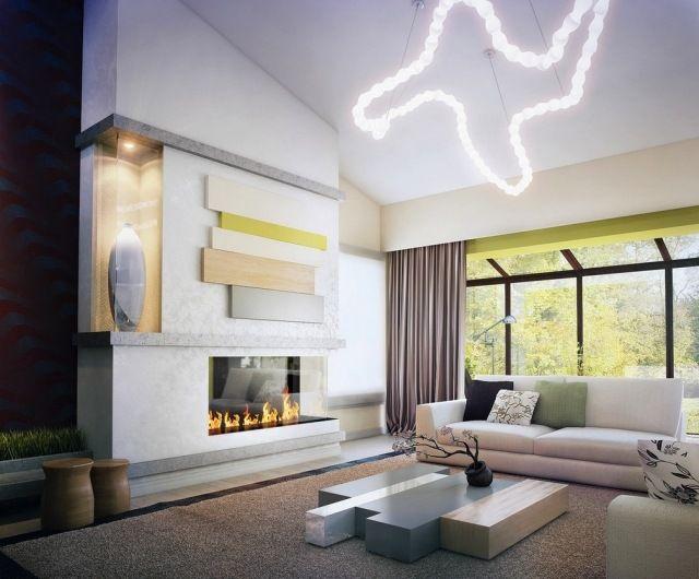 Wohnzimmer Hängeleuchte ~ Ideen wohnzimmer neutrale farben gaskamin skulpturale hängeleuchte