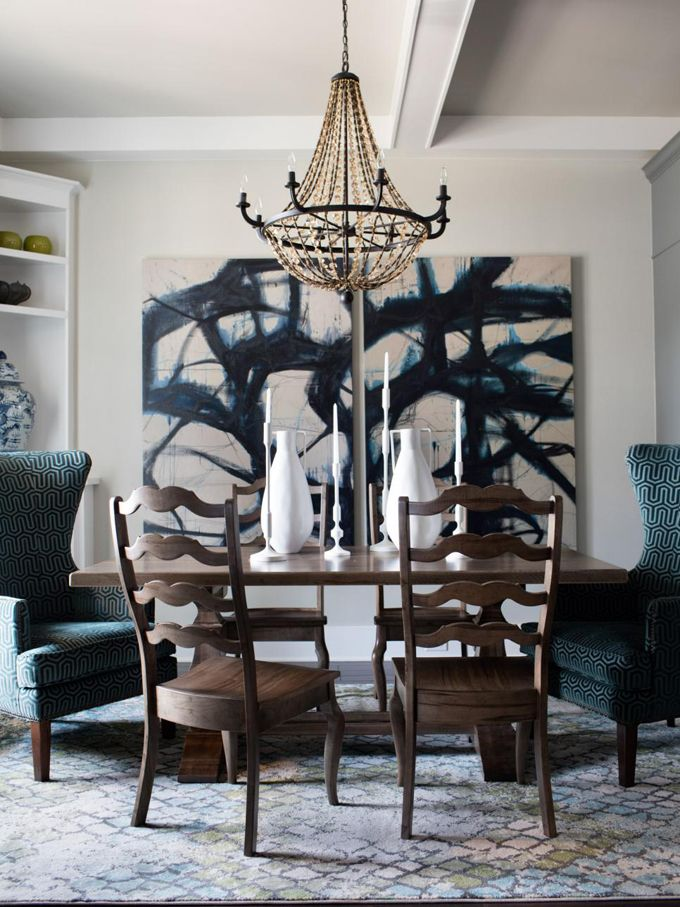 Dining room art The stunning hand painted backsplash