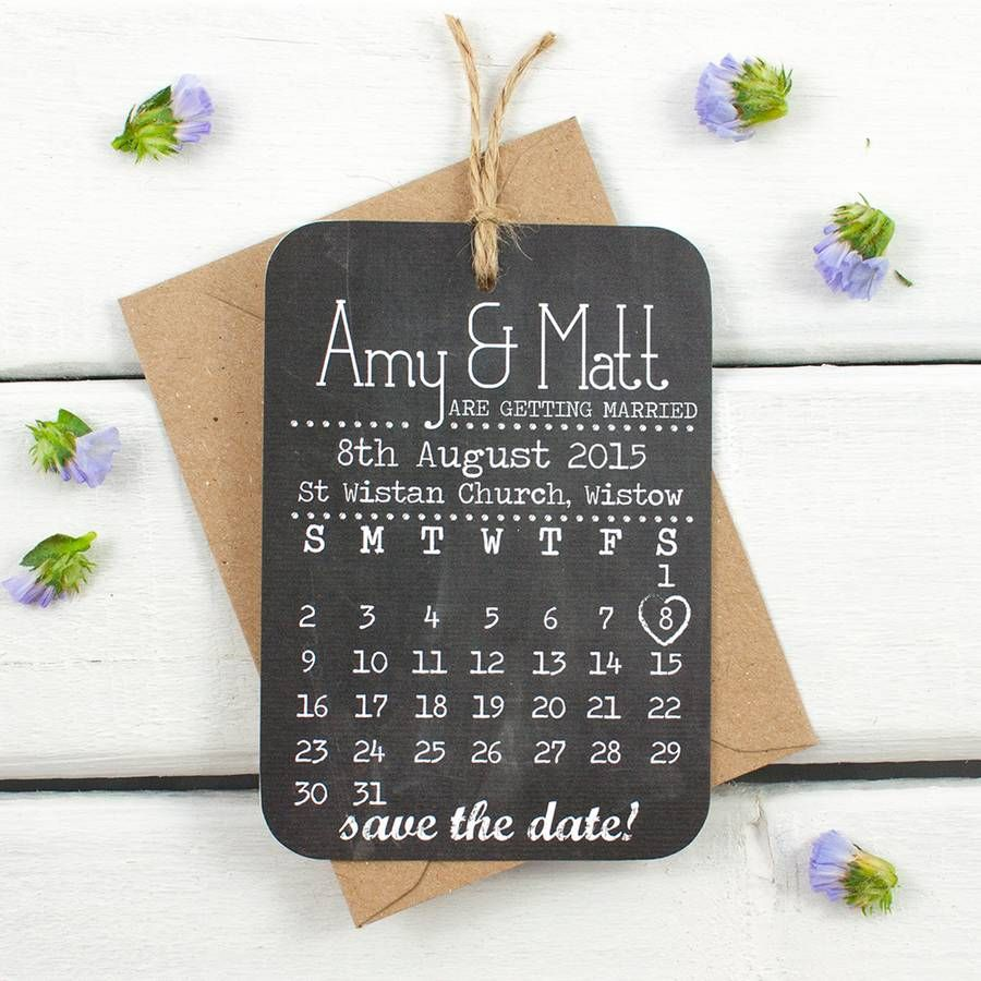 sample wording for save the date wedding cards%0A Save The Date Cards Chalkboard Calendar