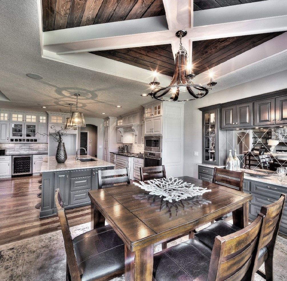 Model Home 1 5 Story Grey And White Kitchen Wood Ceiling Design