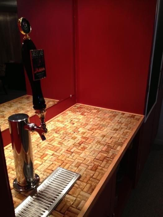 Wine cork bar top sealed with clear epoxy epoxy resin for Cork bar top