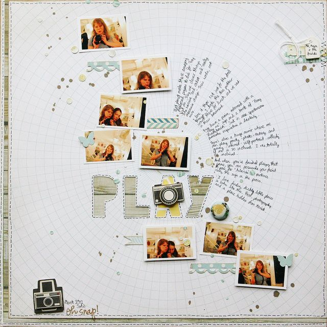 """""""Play"""" LO by scrapbook artist: Miss Smith/Curiouser and Curiouser. I love how the journaling flows out like the sun's rays."""