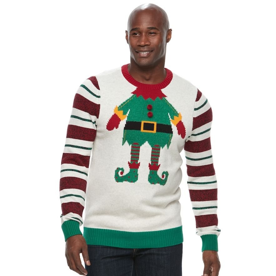 60b8372c4 Big & Tall Method Elf Ugly Christmas Sweater, Men's, Size: L Tall, White