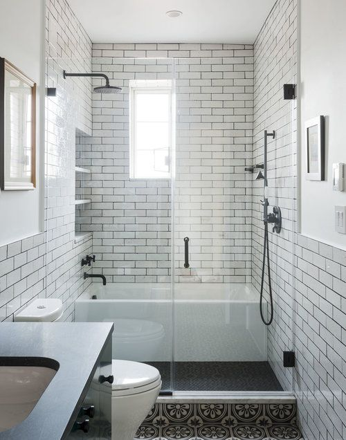 Wet room with shower, floor tile. | Small bathroom ...
