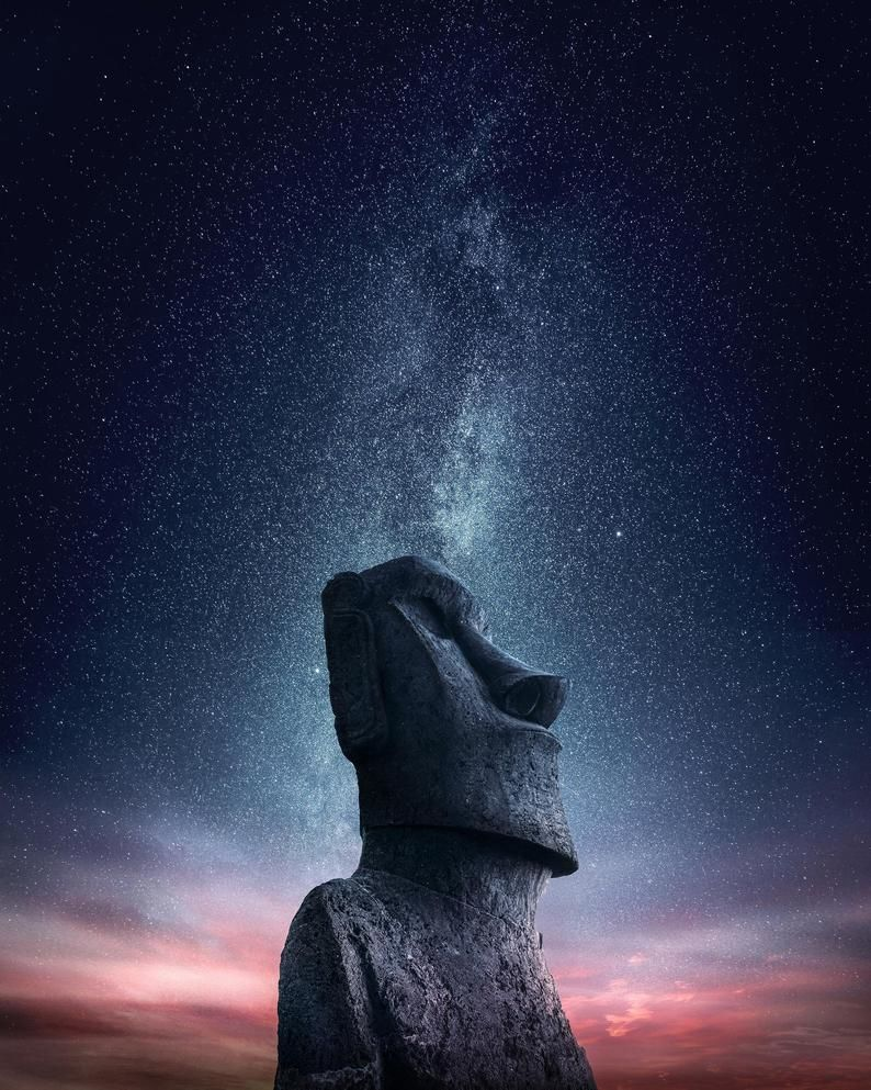 Gate Keeper To The Stars Moai Head In Easter Island Chile Beautiful Landscapes Easter Island Travel Photography