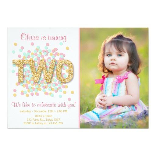 second birthday invitation girl pink