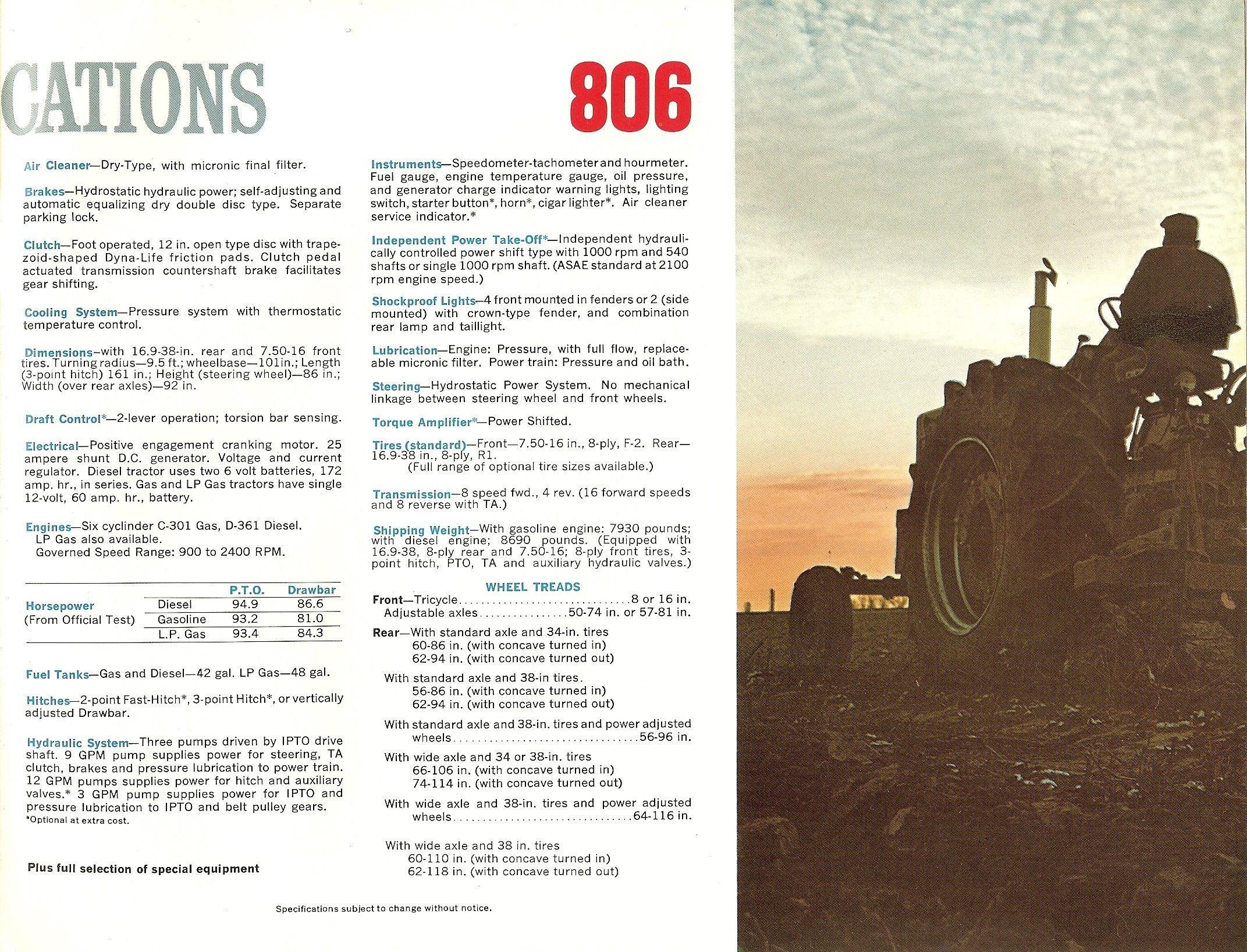 Farmall 806 Specs | International Harvester Advertising