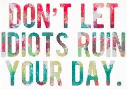 """Don't let idiots ruin your day"" quote via www.Facebook.com/WildWickedWomen"