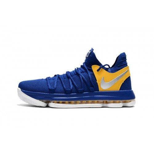 Buy 2017 Nike KD 10 Blue Yellow Basketball Shoes