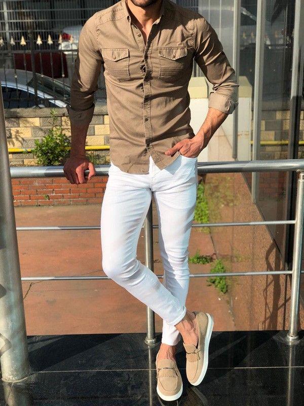 Beige Slim-Fit Denim Shirt, White Jeans