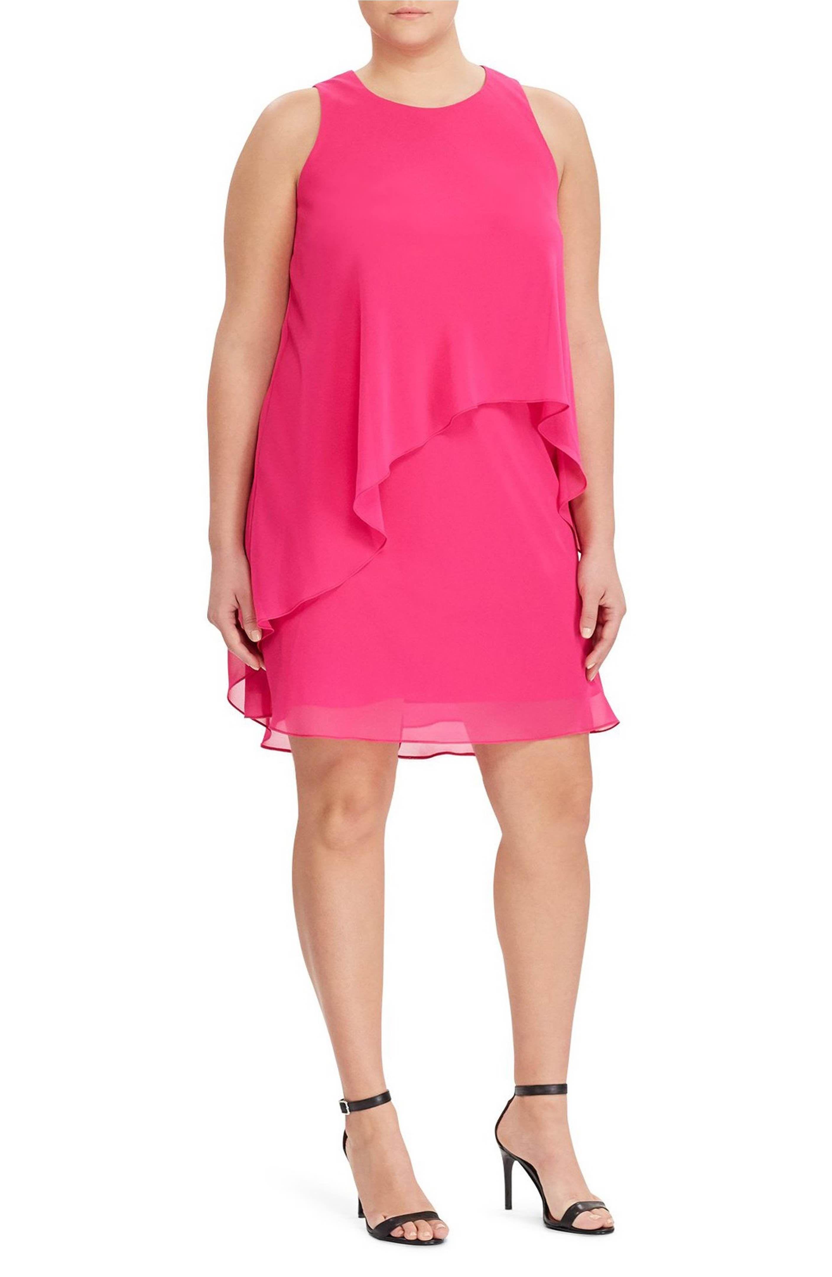Main Image - Lauren Ralph Lauren Georgette Overlay Shift Dress (Plus ...