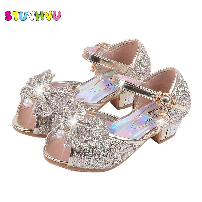 a57e6315111b Fashion girl high heels sandals children sandals snow princess shoes 3 4 5  6 7 8 9 years old kids baby blue pink gold silver