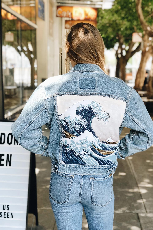 The Great Wave Jacket Sacred Tide Com Painted Denim Jacket Jackets Repurposed Clothing [ 1500 x 1000 Pixel ]