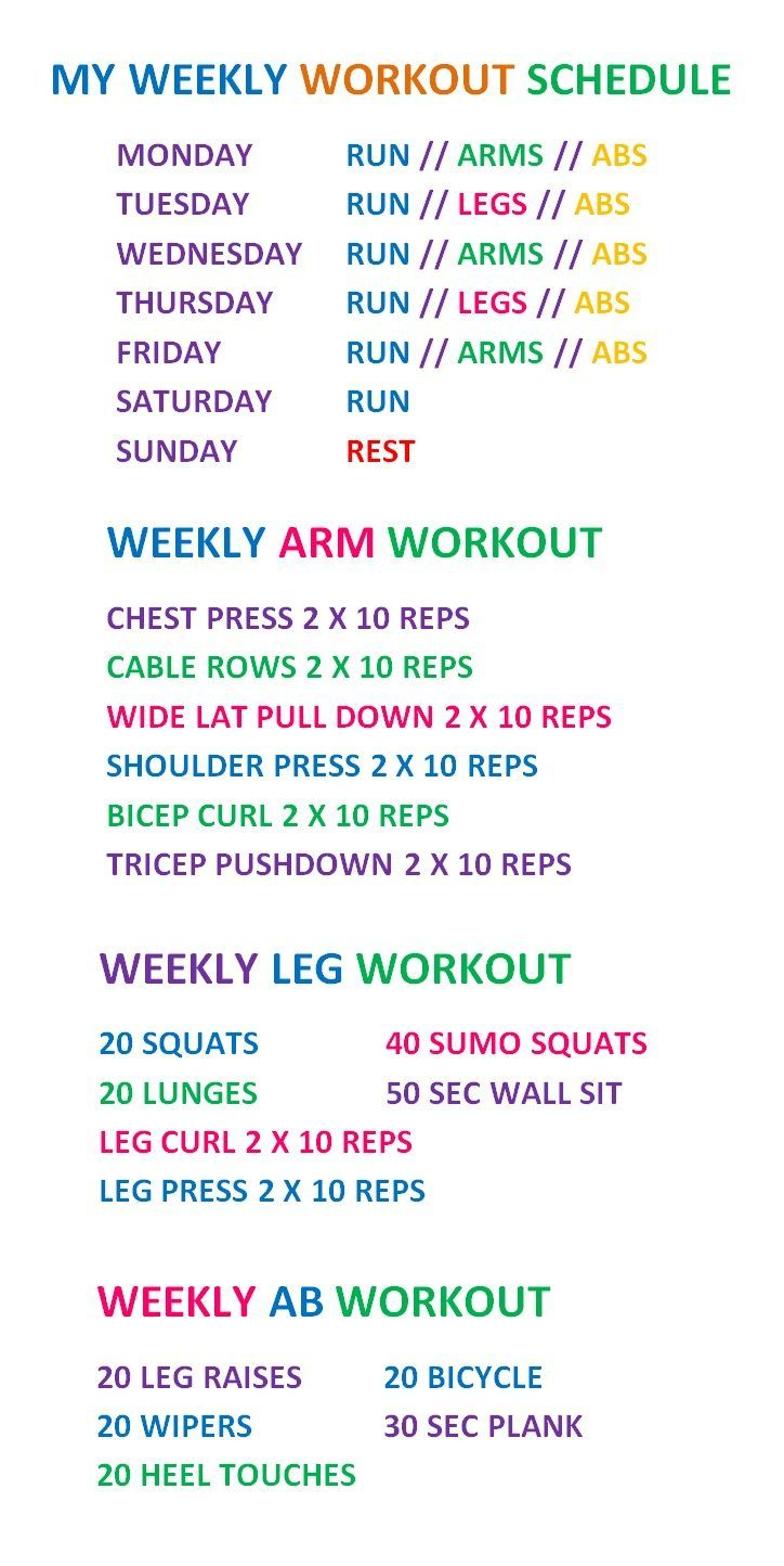 Weekly Work Out Schedule, HIIT, Legs, Arms And Abs