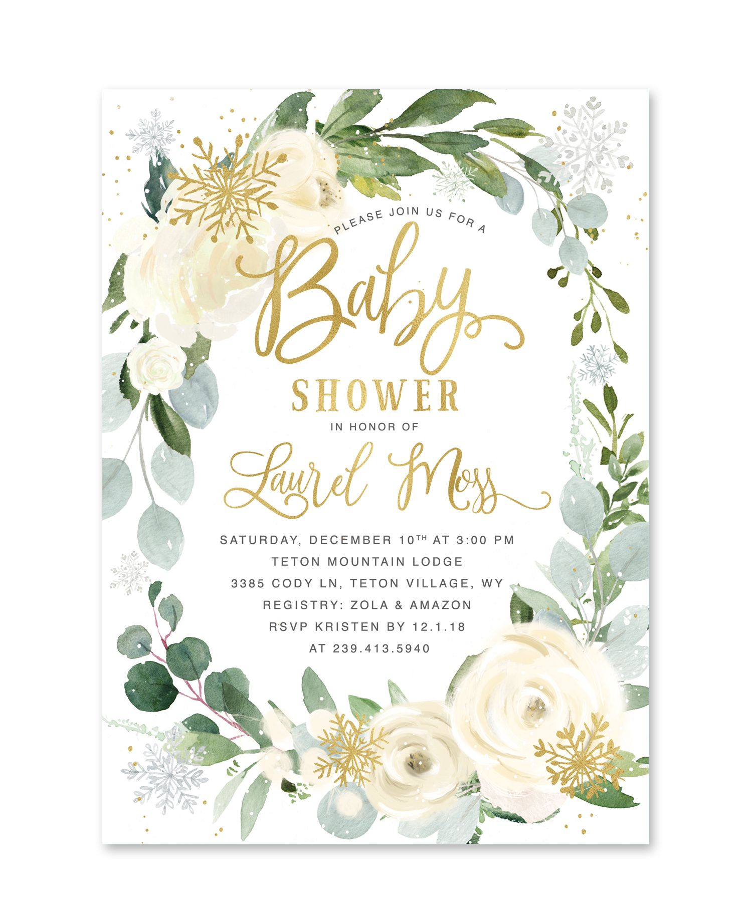 73219b469bc0 Beautiful Winter baby shower invitation White Winter florals with snow and  greenery. Add baby s name