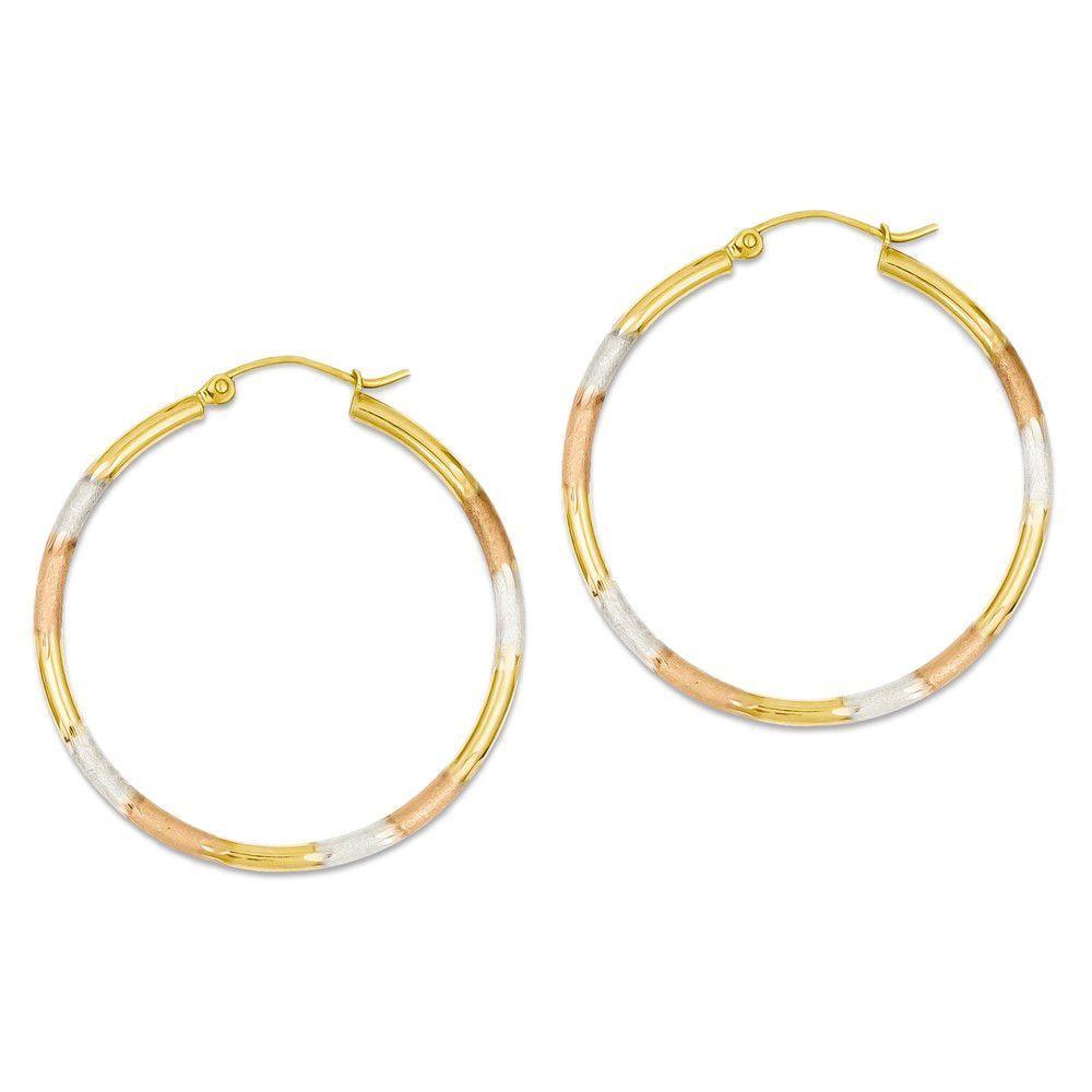14k Tri Color Gold Round Hoop Earrings - 30mm