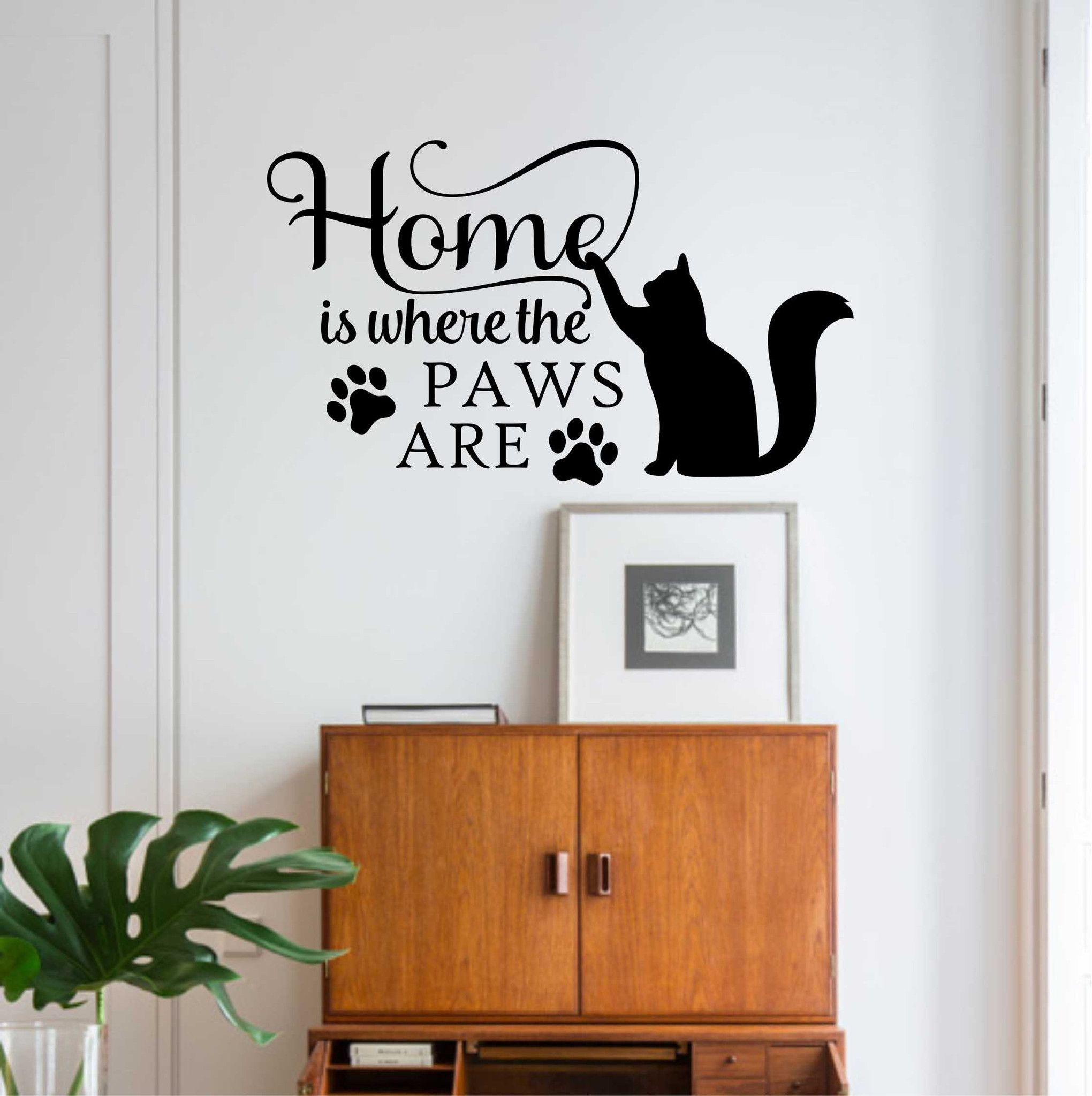 Family Pet Wall Decal Home is where Paws Are Cat Lover