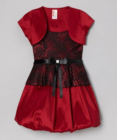 Just Kids Burgundy Floral Bubble Dress & Shrug | Kid, Girls ...