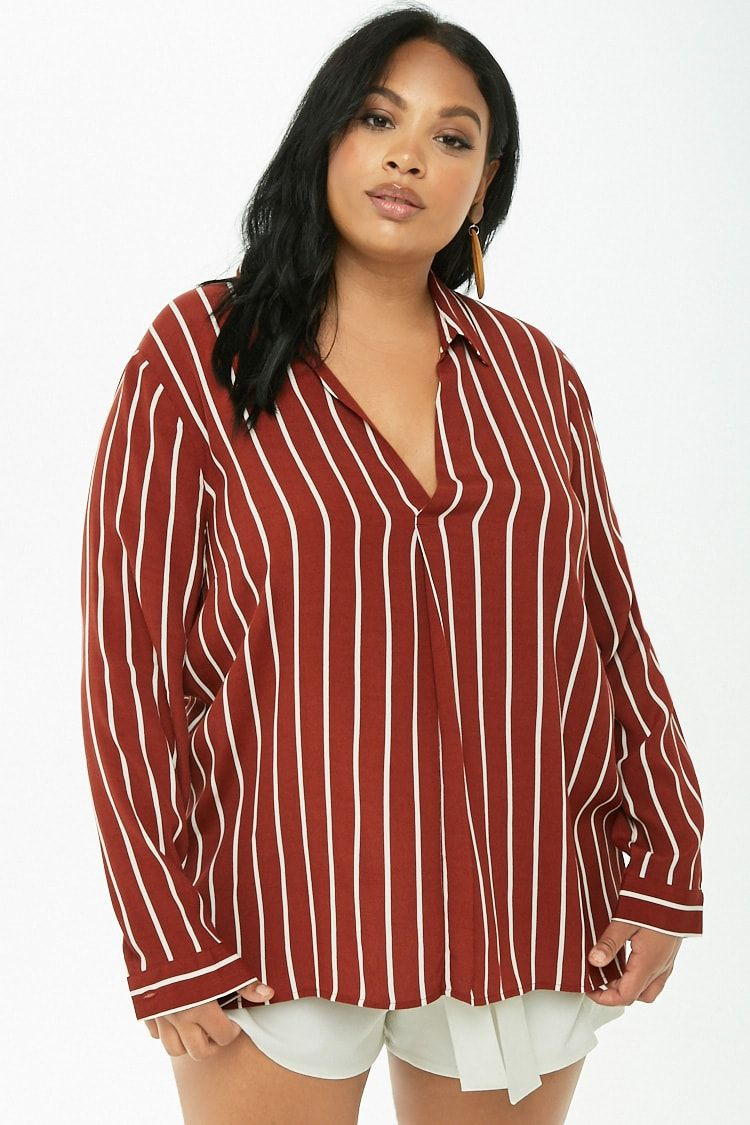 c38ba2e69626b0 Plus Size Striped High-Low Popover Top | Clothing Wants | Plus size ...