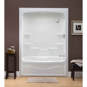 1 Piece White Acrylic Right Hand Tub And Shower House